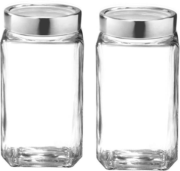 OSWORLD 1000 ml Cube jar storage For grocery container and sweets and chocolate and snacks container and best kitchenwear and storage jars Glass Set of 2  - 1000 ml Glass Tea Coffee & Sugar Container