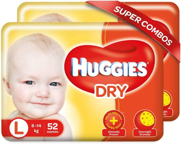 Huggies New Dry Tape Diapers -Combo Pack - L