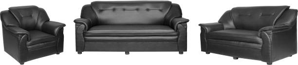 Sekar Lifestyle Home & Office Series Leatherette 3 + 2 + 1 Black Sofa Set