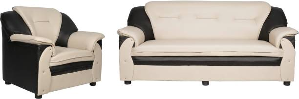 Sekar Lifestyle Home & Office Series Leatherette 3 + 1 Beige & Black Sofa Set