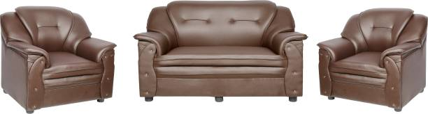 Sekar Lifestyle Home & Office Series Leatherette 2 + 1 + 1 Brown Sofa Set