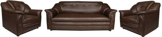 Sekar Lifestyle Home & Office Series Leatherette 3 + 1 + 1 Brown Sofa Set