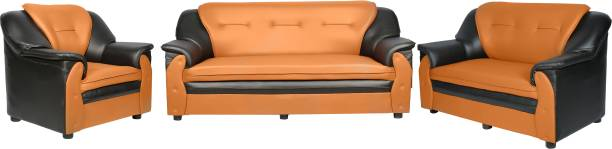 Sekar Lifestyle Home & Office Series Leatherette 3 + 2 + 1 Black & Orange Sofa Set