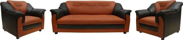 Sekar Lifestyle Home & Office Series Leatherette 3 + 1 + 1 Black & Orange Sofa Set