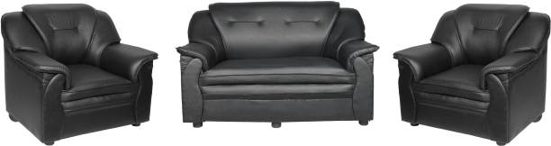 Sekar Lifestyle Home & Office Series Leatherette 2 + 1 + 1 Black Sofa Set