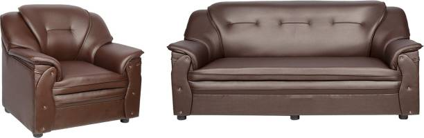 Sekar Lifestyle Home & Office Series Leatherette 3 + 1 Brown Sofa Set