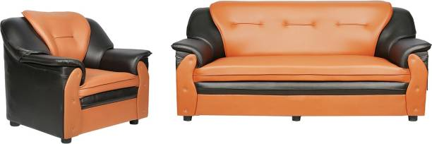 Sekar Lifestyle Home & Office Series Leatherette 3 + 1 Black & Orange Sofa Set