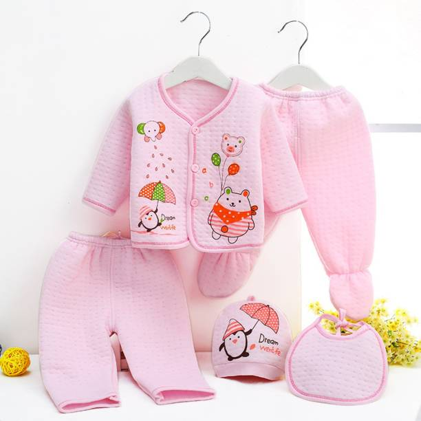 PIKIPOO Presents New Born Baby Winter Wear Keep warm Cartoon Printing Baby Clothes 5Pcs Sets Cotton Baby Boys Girls Unisex Baby Fleece / Falalen Suit Infant Clothes First Gift For New Baby (Pink, 0-6 Months)
