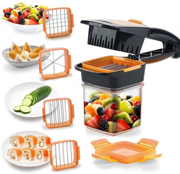Anirdesh 5 in 1 Manual Chopper & Chippers for Fruit , Veggies, Nuts, Potato & Onion Kitchen Slicer Dicer Vegetable & Fruit Grater & Slicer