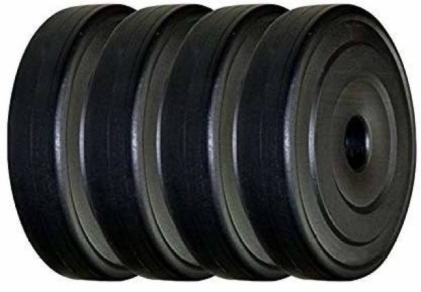 S.D SPORTS PVC Plates 1*kg Each (Pack of 1x4=4* Plates) Unbreakable Black Weight Plate (4 kg) Black Weight Plate