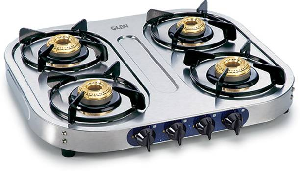 GLEN 1044 SS BB ISI Certified 4 Burner Stainless Steel Manual Gas Stove