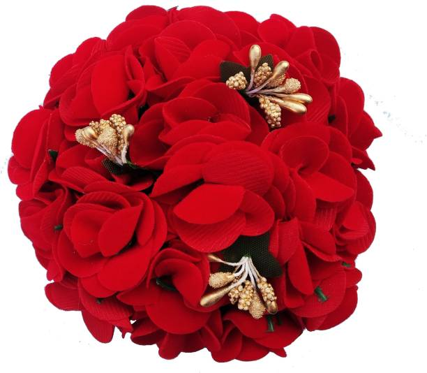 Shining Angel Artificial Flower Bun Decoration Hair Gajra Accessories Red Yellow for Women And Girls, Pack Of 1 Hair Accessory Set