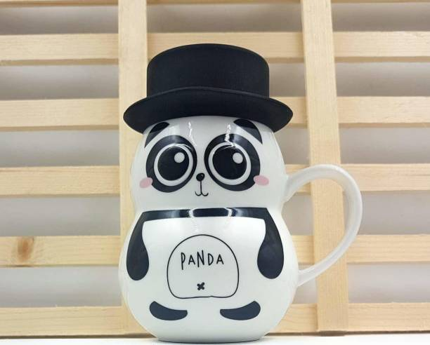 Satyam Kraft Cute 3D Embossed eye Panda Ceramic Coffee Milk Tea Cup with Funny Lid Perfect Novelty Gift for Mom, Girls, Girlfriend, Wife, Panda Lovers Ceramic Coffee Mug