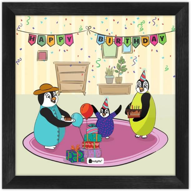 Birthday Gift for kids, Cartoon Poster Frame, Wall Hanging_S-PSFSWBK01SQ08-BDY19004 Paper Print