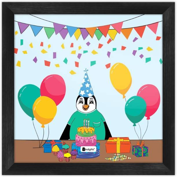 Birthday Gift for kids, Cartoon Poster Frame, Wall Hanging_S-PSFSWBK01SQ08-BDY19003 Paper Print