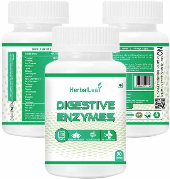 HerbalLeaf Digestive Enzymes New Formula Now with Resveratrol Aloe Senna