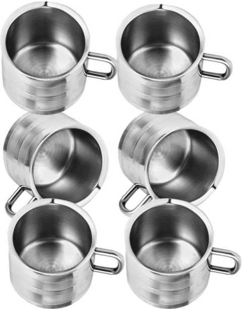 AKG Pack of 6 Stainless Steel Tea & Coffee Cup