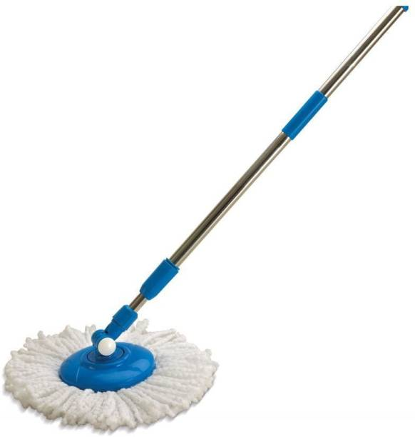 TRACEY Spin Broom Handle Stick with Microfiber Head Refill Stainless Steel Pole for 360° Floor Cleaning Strip Mop