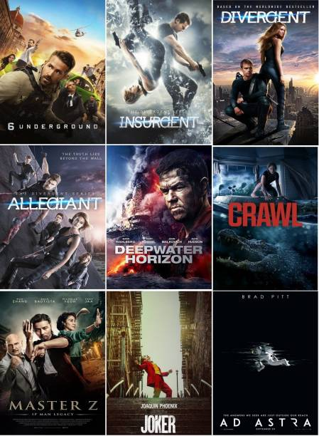 6 Underground, Ad Astra, Allegiant, Crawl, Deepwater Horizon, Divergent, Insurgent, Joker, Master Z (9 movies) (dual audio Hindi and English) (clear HD print clear audio) it's burn DATA DVD play only in computer or laptop