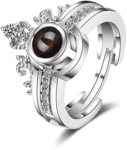 University Trendz 100 Languages I Love You Memory Crown Ring Copper Crystal Titanium Plated Ring