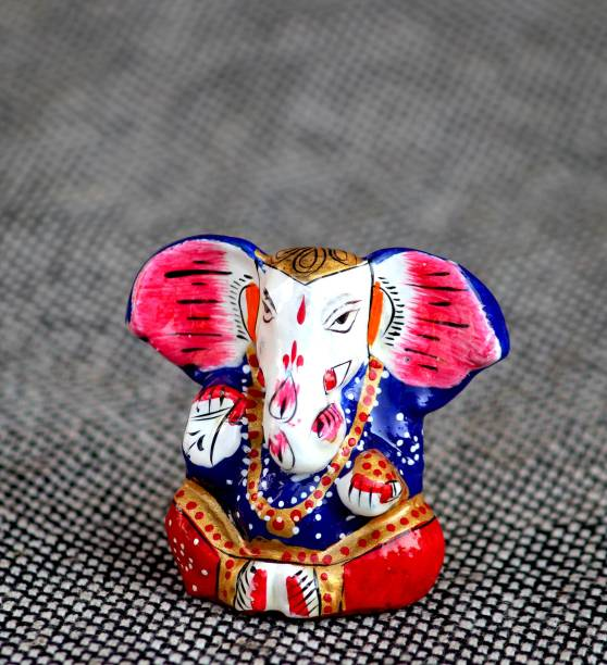 Craft Junction Handpainted Decorative Blessing Lord Ganesha For Car DashBoard Decorative Showpiece  -  4.5 cm