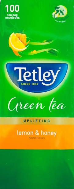 tetley LEMON & HONEY (100 TEA BAGS ENVELOPES) Lemon, Honey Green Tea Bags Box