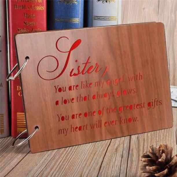 manan store 'Sister-Glows' Wooden Scrapbook Photo Album for Memorable Gift on sister's Birthdays Album