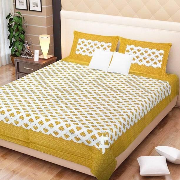 E ELMA 210 TC Cotton Double Jaipuri Prints Bedsheet