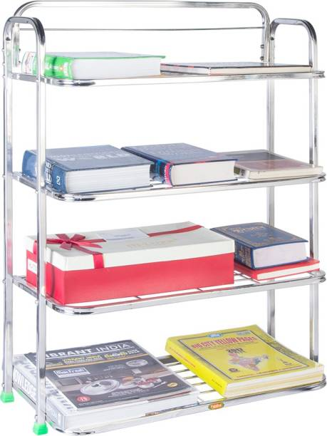 Patelraj Pure Stainless Steel Book Shelf 4 Step Metal Open Book Shelf