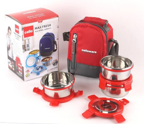 cello MAXFRESH ALL STEEL LUNCH 3 RED 3 Containers Lunch Box
