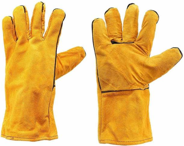 TruVeli Protective Durable Heat Resistant Welding Work Gloves Leather Gloves Cut Resistance Gloves Synthetic  Safety Gloves