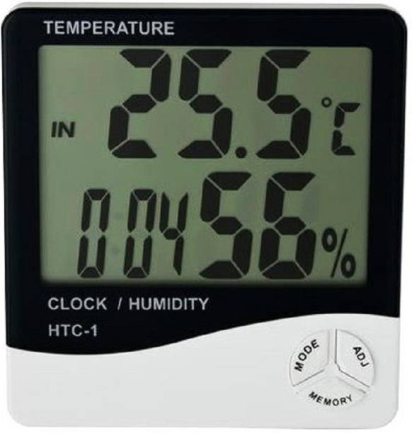 baluda Digital White, Temperature Humidity Time Display Meter with Wall Mount or Table Top Alarm Clock Clock