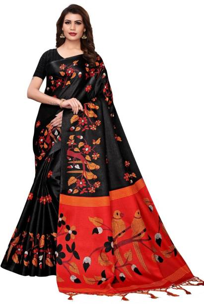 Calendar Women's Multi Color Khadi Silk Saree With Blouse Piece