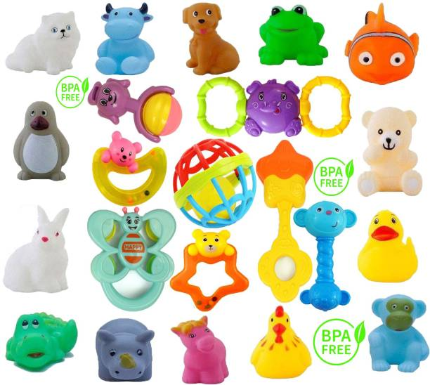 Learn With Fun Lovely Attractive Colorful New Baby Born 14 piece Bath Animal Shape and 8 Rattle Toy Intelligence Education Develop for kids Child Toddlers Infants Babies Gift Bath Toy