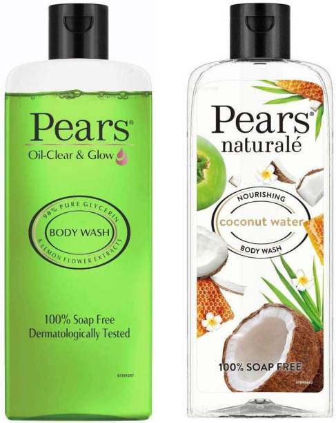 Pears Oil Clear and Glow Shower Gel 250ml, with Naturale Nourishing Coconut Water Bodywash, 250 ml