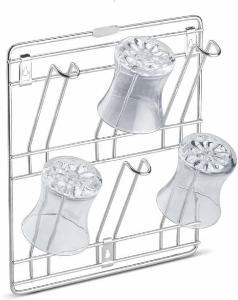 DHARMIK FASHION Stainless Steel Wall Mounting Glass Stand/Water Glass Holder for Kitchen / 6 Glass Storage Wall Hanging Glass Stand, Chrome Plated (10 X 10 X 6 inch) Steel Glass Holder