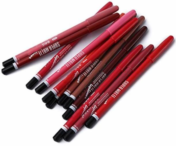 Miss Hot Super Matte Lipliner Pencil Make Up Soft Non-dizzy Texture Waterproof Long-lasting Lip Liner (Set Of 12,colour)
