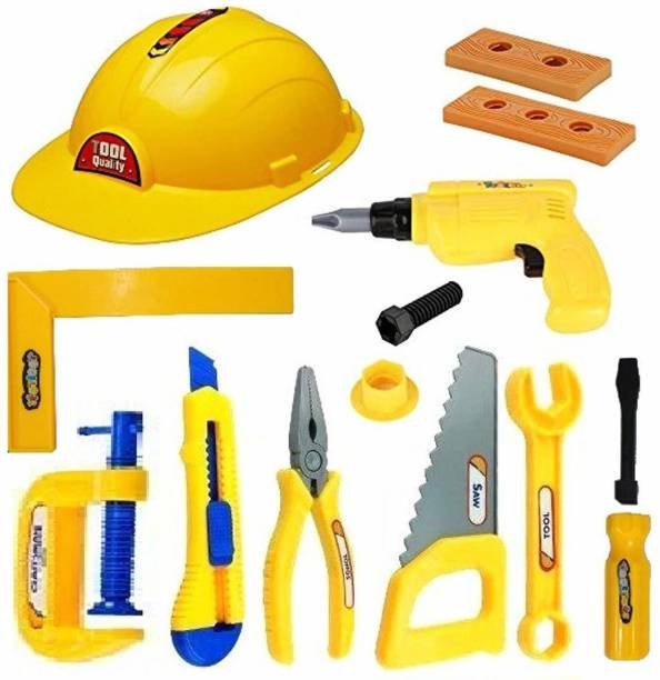 Barodian's construction Tools Kit pretend play Toys for Kids - (Pack of 12 Tools)