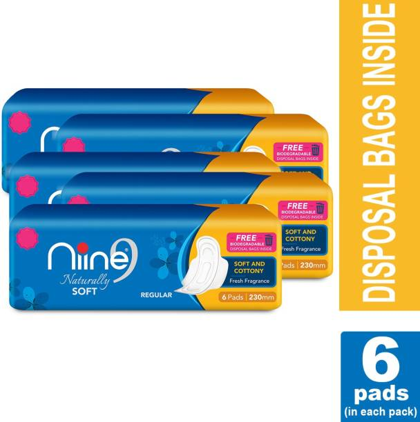 niine Naturally Soft Regular Sanitary Pads for women, With Biodegradable disposable bags inside (Pack of 5), 30 Pads Count Sanitary Pad