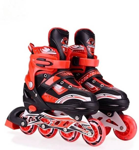 SANJARY High quality Skating in-line Shoe have different size and with PU LED wheel In-line Skates - Size 6-9 UK (RED) In-line Skates - Size 6-9 UK