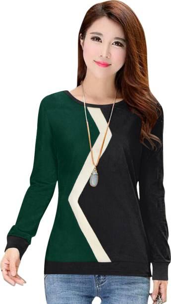 wow n now Color Block Women Round Neck Dark Green, Black, White T-Shirt