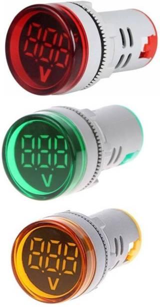 Mexico Pack of 2 Volt Meter 0002 LED Digital Display Gauge Volt Digital,Voltage Meter Indicator,Signal Lamp,Voltmeter Lights Tester Combo Measuring Range 60-500V AC, 22 mm Digital Voltage Tester