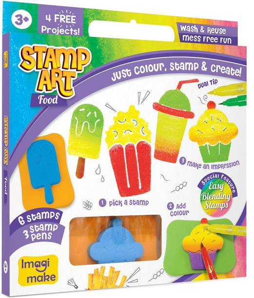 Imagimake Stamp Art - Food - DIY Kids Art Set - For Girls and Boys 3 Years+