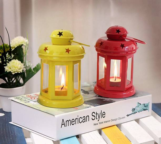 TIED RIBBONS Tea Light Candle Holder Lantern for Diwali, Christmas, Home Decoration Iron 2 - Cup Tealight Holder Set