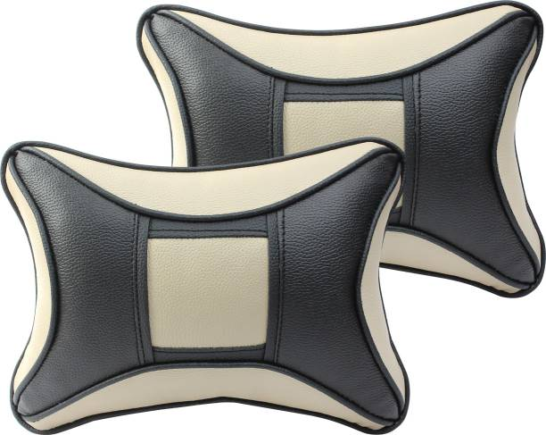 Auto Hub Beige, Black Leatherite, Cotton Car Pillow Cushion for Universal For Car