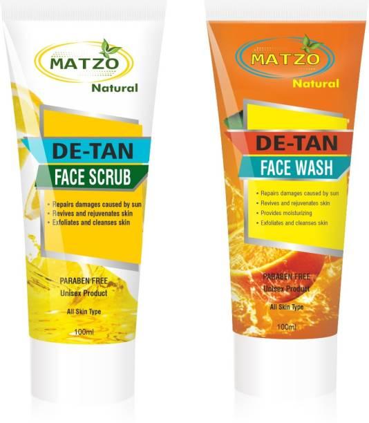 Matzo Natural De-Tan Face Wash 100 ml and De-Tan Face Scrub 100 ml Combo, SLS Free, Paraben Free