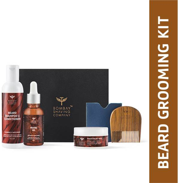 BOMBAY SHAVING COMPANY Beard Grooming Kit for managing frizzy beard, Daily Use for Soft Beard (Wood Scented)