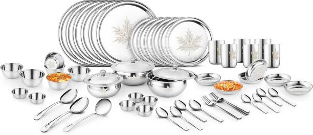 Classic Essentials Pack of 61 Stainless Steel Classic Essentials Pack of 61 Stainless Steel Premium Mapple with Permanent Lazer design Dinner Set Dinner Set