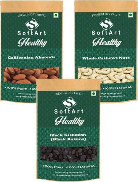 Soft Art Californian Almonds , Whole Cashews Nuts & Black Kishmish (Black Raisins) (250g Each) Vaccum Pack Almonds, Cashews, Raisins