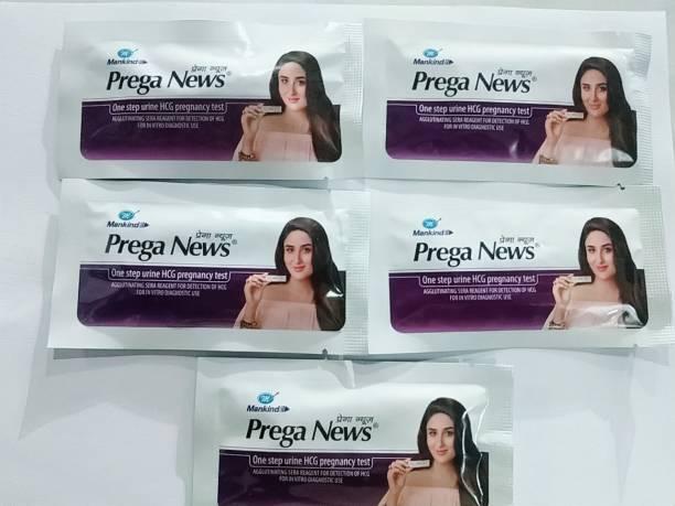 PREGANEWS Prega News pack of 5 (One step Urine HCG pregnancy Test)Test Kit (5 Tests) Pregnancy Test Kit